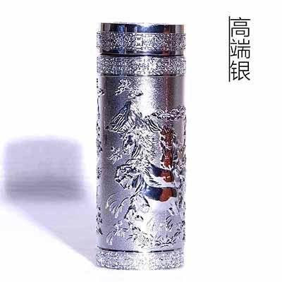 纯银浮雕杯马到成功办公茶杯