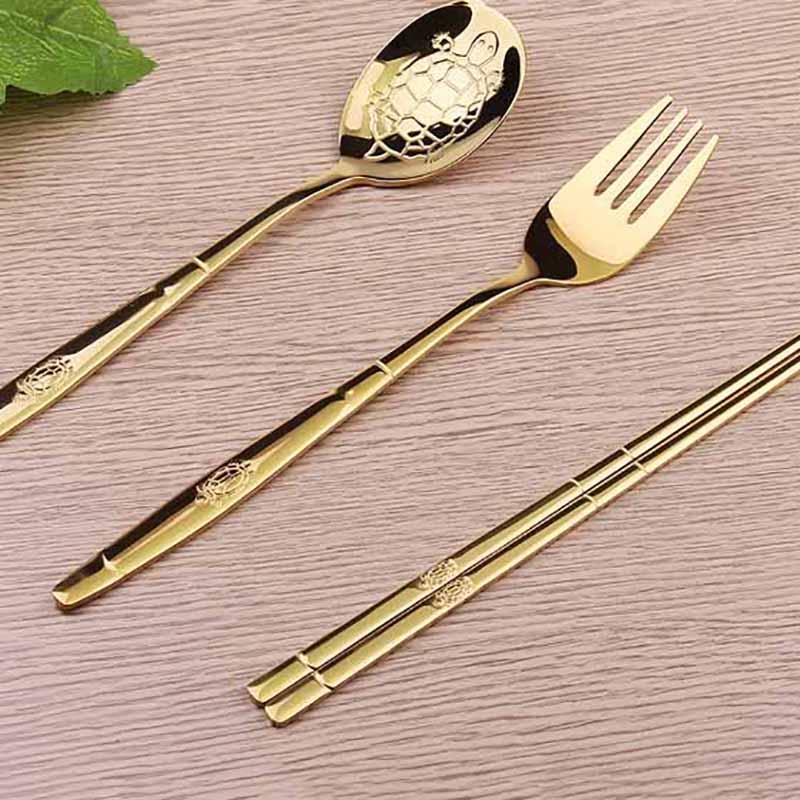 金银碗筷金乌龟叉勺子筷子便携餐具套装