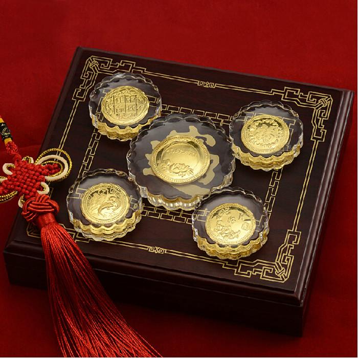 琉璃纯金银月饼 商务礼赠品定做